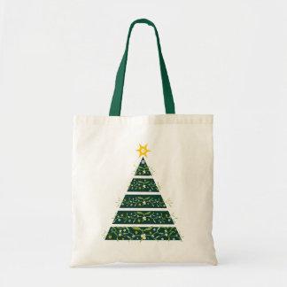 ヤドリギの緑のクリスマスツリーの季節的なバッグ トートバッグ