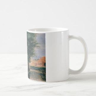 ヤナギが付いている建築敷地- Adolph Menzel 1846年 コーヒーマグカップ
