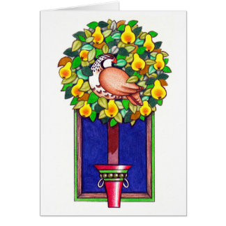 ヤマウズラおよびナシのクリスマスカード カード