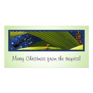 ヤモリのトカゲの熱帯クリスマス カード