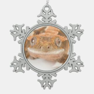 ヤモリの凝視 スノーフレークピューターオーナメント