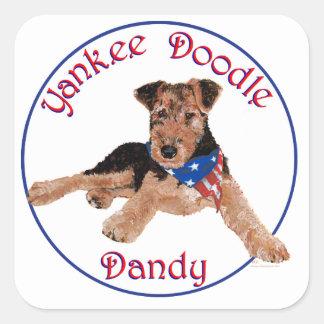 ヤンキーの落書きのダンディな人の子犬 スクエアシール