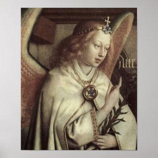 ヤン・ファン・エイクの天使、ゲントの祭壇の背後の飾りのファインアート ポスター