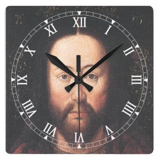ヤン・ファン・エイク著イエス・キリストのポートレート スクエア壁時計