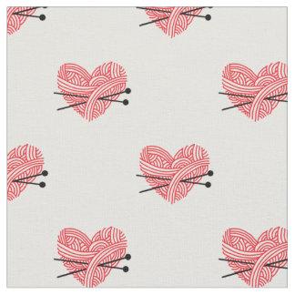 ヤーンのハート及び編み物針の技術パターン ファブリック