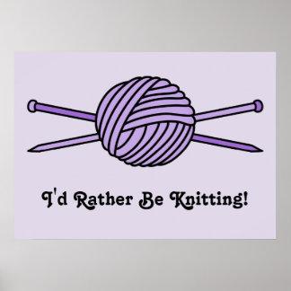 ヤーン及び編み物針の紫色の球 ポスター