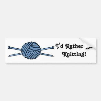 ヤーン及び編み物針の青い球 バンパーステッカー