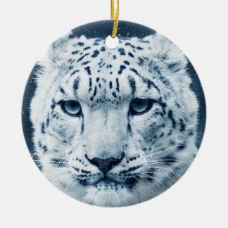 ユキヒョウの冬の雪の山猫の自然 セラミックオーナメント