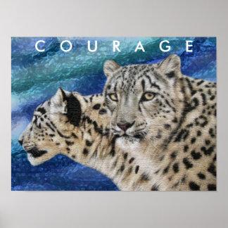 ユキヒョウの勇気のやる気を起こさせるなポスター ポスター