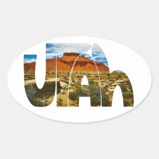 ユタの砂漠のロゴ 楕円形シール