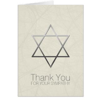 ユダヤ人の悔やみや弔慰銀製のダビデの星は感謝していしています カード
