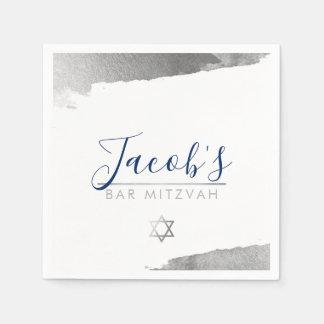 (ユダヤ教の)バル・ミツバーのモダンで豪華な金めっきされた銀製の濃紺を禁止して下さい スタンダードカクテルナプキン