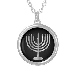 ユダヤ教の(ユダヤ教)メノラー シルバープレートネックレス