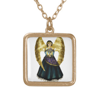 (ユダヤ教)メノラーの天使 ゴールドプレートネックレス