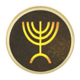 (ユダヤ教)メノラーの炎 金色 ラペルピン