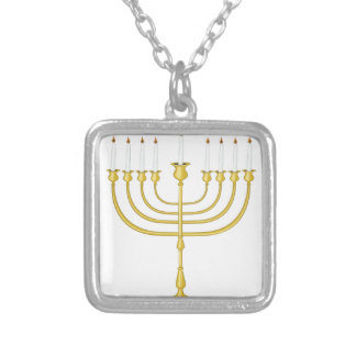 (ユダヤ教)メノラー シルバープレートネックレス