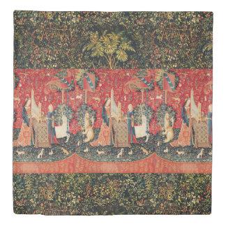 ユニコーンおよび女性PLAYING ORGAN、動物の赤い緑 掛け布団カバー