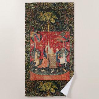 、ユニコーンおよび女性PLAYING ORGAN FLORAL赤い緑 ビーチタオル