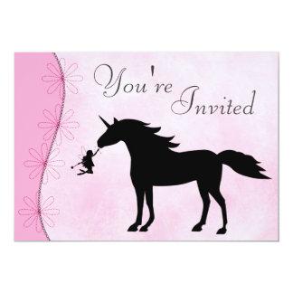 ユニコーンおよび妖精のシルエットの誕生日の招待状 カード