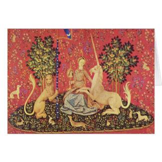ユニコーンおよび未婚の中世タペストリーのイメージ カード