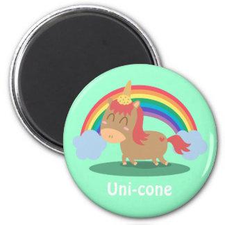 ユニコーンがあることを試みているかわいいのブラウンの馬 マグネット