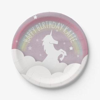 ユニコーンのシルエットの虹の雲 + 星の誕生日 ペーパープレート