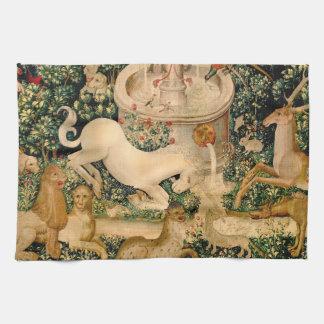 ユニコーンのタペストリーの中世狩り キッチンタオル
