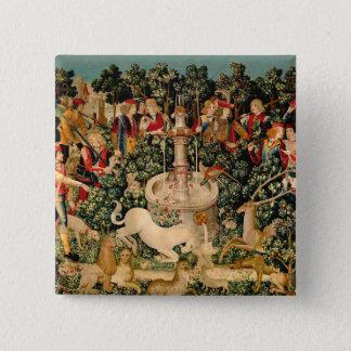 ユニコーンのタペストリーの中世芸術 5.1CM 正方形バッジ