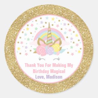 ユニコーンのピンク及び金ゴールドのパーティの記念品のラベルのステッカーのシール ラウンドシール