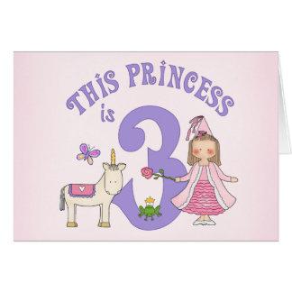 ユニコーンのプリンセスの第3誕生日の招待状 カード