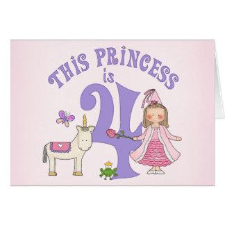 ユニコーンのプリンセスの第4誕生日の招待状 カード
