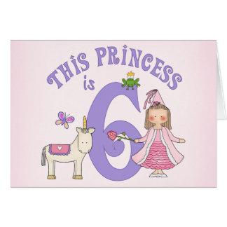 ユニコーンのプリンセスの第6誕生日の招待状 カード