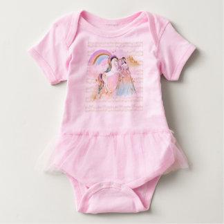 ユニコーンのプリンセスの虹音楽はピンクの青を主演します ベビーボディスーツ