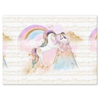 ユニコーンのプリンセスの虹音楽はピンクの青を主演します 薄葉紙