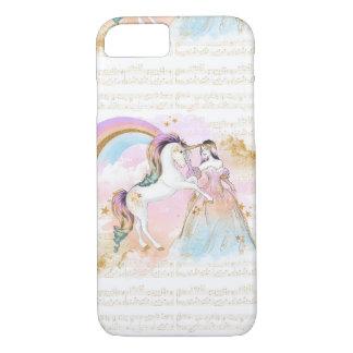 ユニコーンのプリンセスの虹音楽はピンクの青を主演します iPhone 8/7ケース