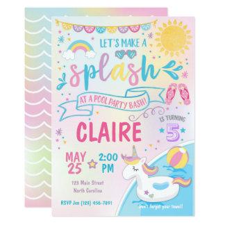 ユニコーンのプールのパーティの招待状、プールの強打の誕生日 カード