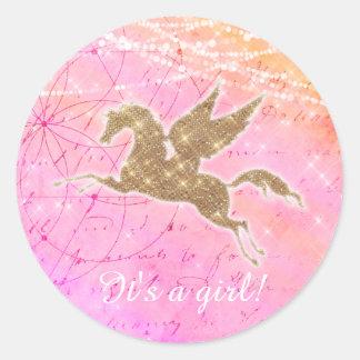 ユニコーンのベビーシャワーの女の子のピンクの金ゴールドのステッカー ラウンドシール