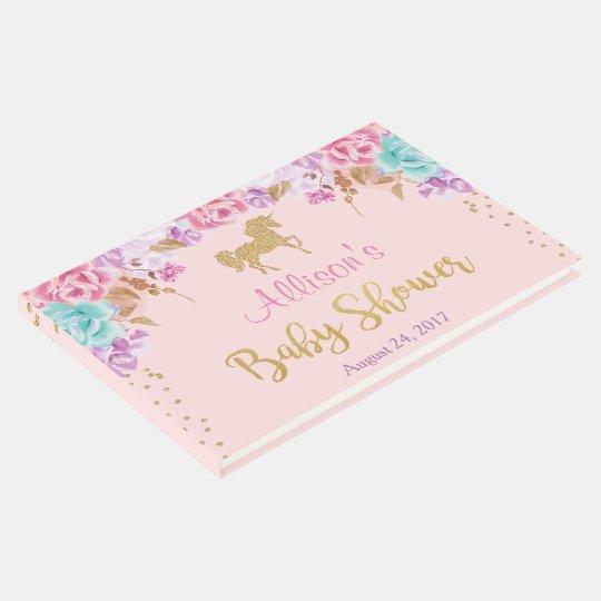 ユニコーンのベビーシャワーの来客名簿、ピンクおよび金ゴールド ゲストブック