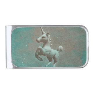 ユニコーンのマネークリップ(ティール(緑がかった色)の鋼鉄) シルバー マネークリップ