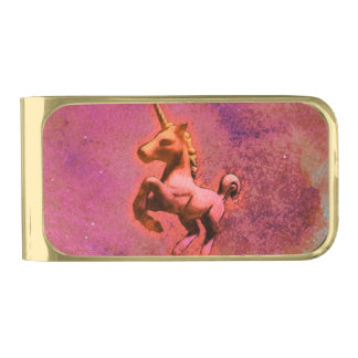ユニコーンのマネークリップ(赤い強度) ゴールド マネークリップ