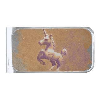 ユニコーンのマネークリップ(金属のラベンダー) 銀色 マネークリップ