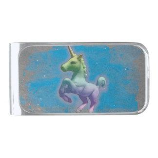 ユニコーンのマネークリップ(青い星雲) 銀色 マネークリップ