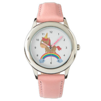 ユニコーンのユーモアがあるかわいい馬の夢 腕時計