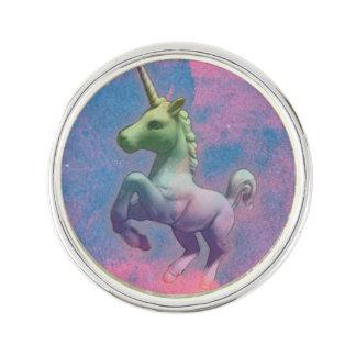 ユニコーンのラペルピンの円形の銀(カップケーキのピンク) ラペルピン