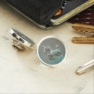 ユニコーンのラペルピンの円形の銀(ティール(緑がかった色)の鋼鉄) ラペルピン