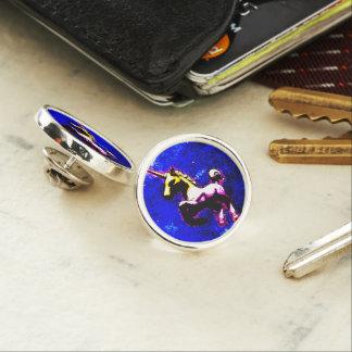 ユニコーンのラペルピンの円形の銀(パンクのカップケーキ) ラペルピン