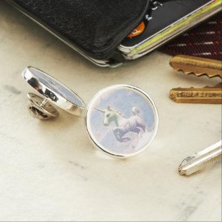 ユニコーンのラペルピンの円形の銀(月の夢) ラペルピン