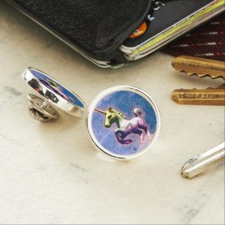 ユニコーンのラペルピンの円形の銀(燃やされた青) ラペルピン