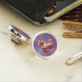 ユニコーンのラペルピンの円形の銀(紫色の霧) ラペルピン