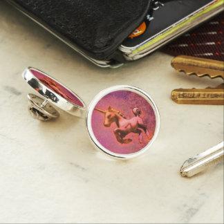 ユニコーンのラペルピンの円形の銀(赤い強度) ラペルピン